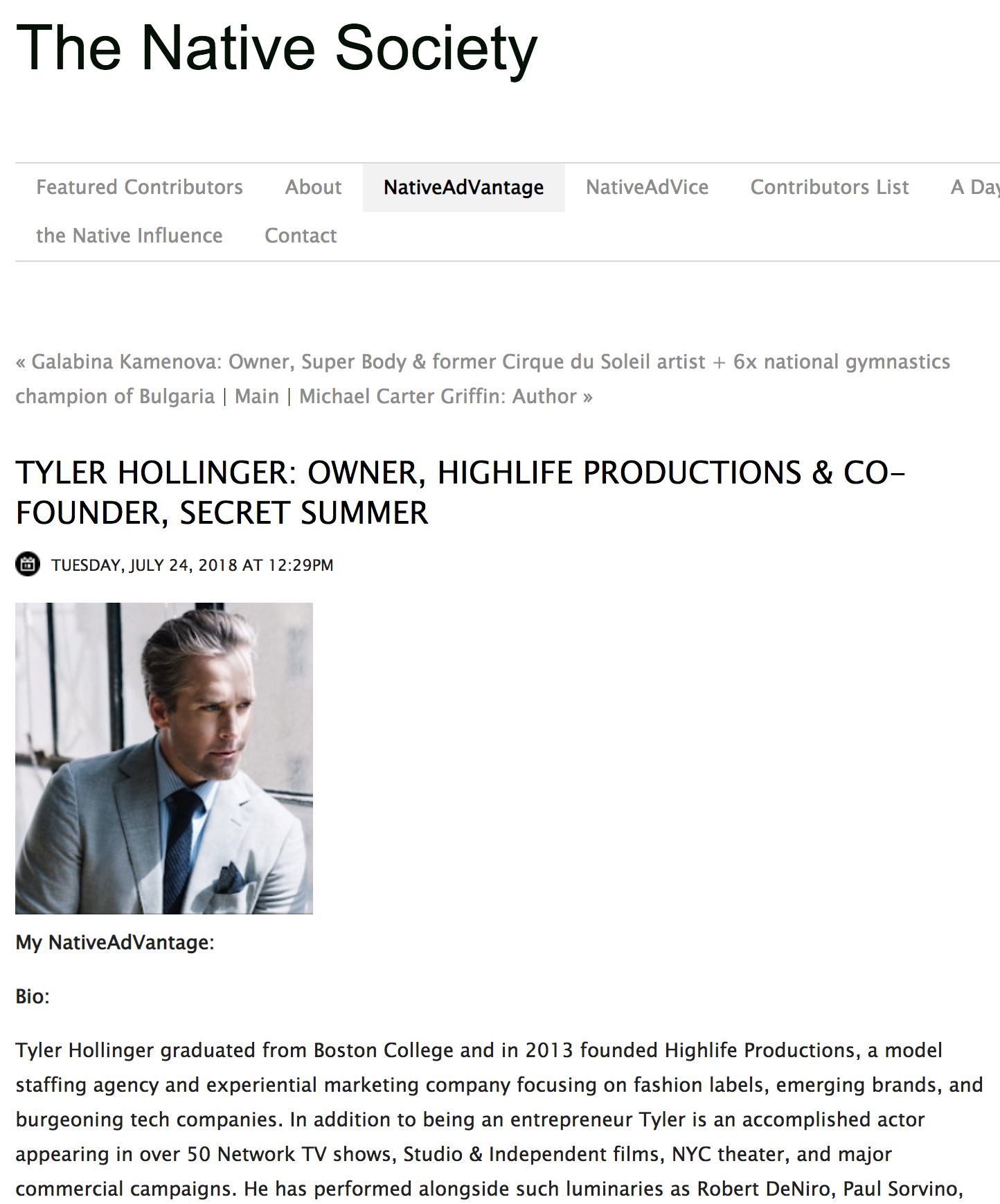 Tyler Hollinger in Native Society