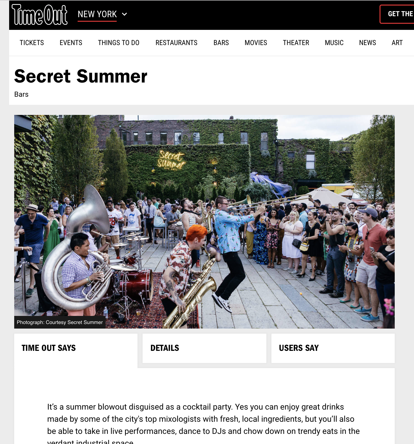 Secret Summer in Time Out NY